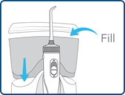 Fill and place water flosser reservoir