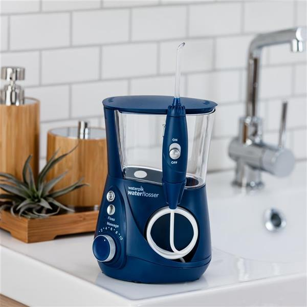 Blue Aquarius Designer Series Water Flosser WP-673 In Bathroom