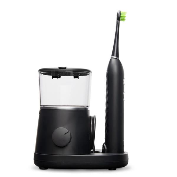 Sideview - Black Sonic-Fusion SF-01, Flossing Toothbrush Handle, & Brush Head