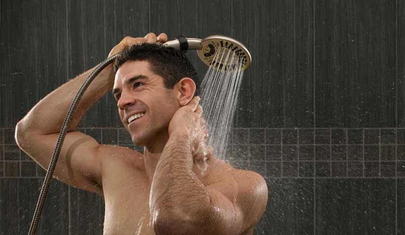 Move shower head closer for rinsing